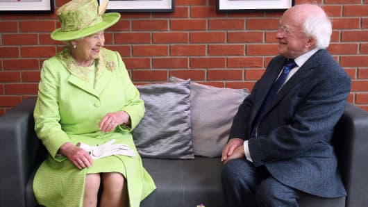 Queen Elizabeth II and Irish President Michael D. Higgins.