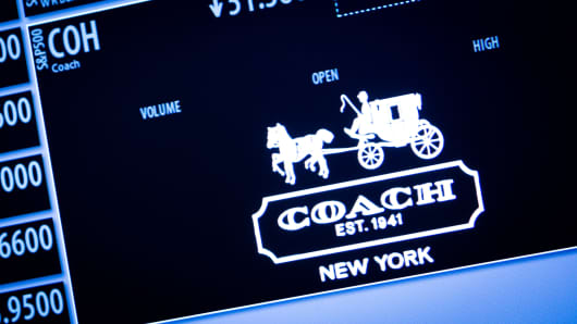 Coach Inc. stock displayed the New York Stock Exchange.