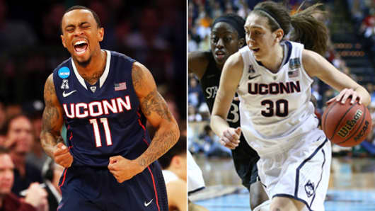 Ryan Boatright, left, and Breanna Stewart of the University of Connecticut Huskies
