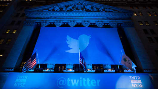 The Twitter banner hangs at the NYSE.
