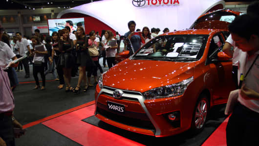 A Toyota Yaris on display during the 35th Bangkok International Motor Show.