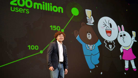 Japan's smartphone based social networking service (SNS) 'Line' president Akira Morikawa delivers a speech about Line's global strategy in Urayasu, suburban Tokyo.