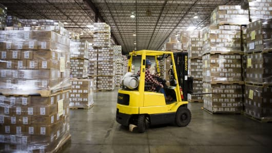 An employee operates a forklift at the distribution center of the Oregon Freeze Dry Inc. facility in Tangent, Oregon.