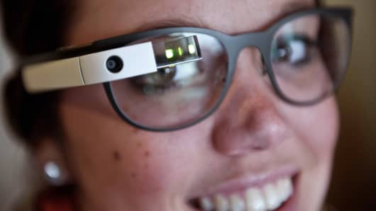 Allyson Cannon tries Google Glass at the National Press Club in Washington on April 4, 2014.