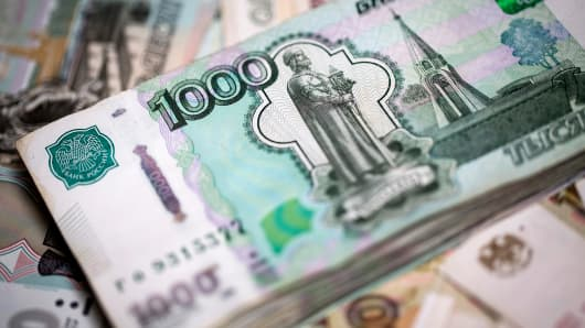 Russian 1000 rouble currency banknotes