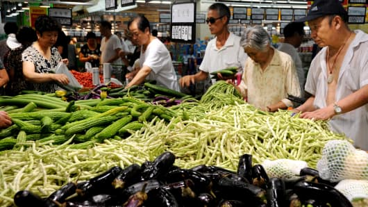 Residents shopping in a supermarket on August 9, 2013 in Lianyungang, Jiangsu Province of China.