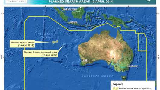 A handout image released by the Australian Maritime Safety Authority (AMSA) in Canberra, Australia, 10 April 2014, shows the search area and Sonobuoy search area where 14 planes and 13 ships are scouring a 57,923 square km area of ocean for the wreckage of flight MH370 on 10 April 2014.
