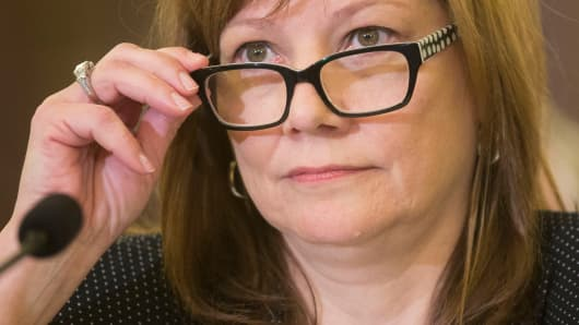 Mary Barra testifying on Capitol Hill on April 2, 2014, about faulty GM ignition switches.
