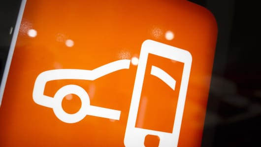 A connected car tile is seen during the press day of the 84th International Motor Show which will showcase novelties of the car industry on March 5, 2014 in Geneva, Switzerland.