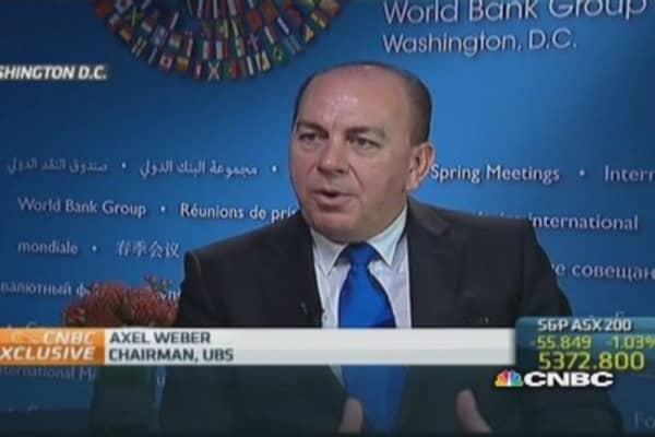 Market 'underpricing' euro zone risk: UBS' Weber