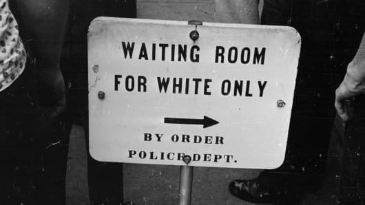A police sign for a 'white only' waiting room at the bus station in Jackson, Mississippi, 1961.