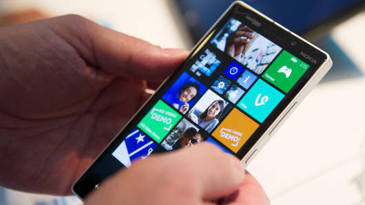 Microsoft Windows software on a smart phone.