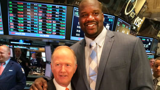 Bill Griffeth and Shaquille O'Neal at the New York Stock Exchange, April 14, 2014.