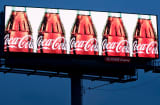 An electronic billboard advertising Coca-Cola in Medford, Massachusetts
