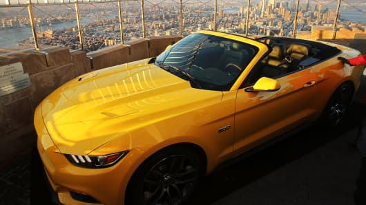 The new 2015 Mustang convertible is viewed on top of the observation deck at the Empire State Building in honor of 50 years of the Ford Mustang on April 16, 2014 in New York City.