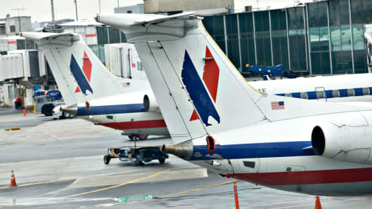 American Eagle jets at LaGuardia Airport in New York.