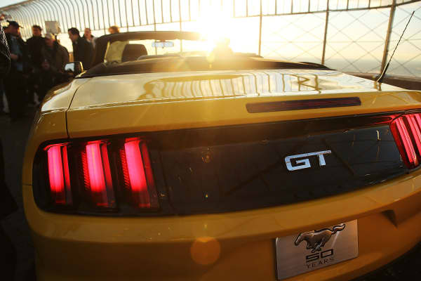 Rear view of the 2015 Mustang GT convertible on the top of the Empire State Building, celebrating the Mustang's 50th anniversary during the New York International Auto Show, April 16, 2014.