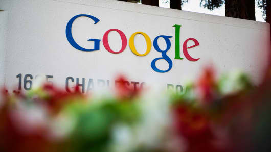 Google signage is displayed in front of the company's headquarters in Mountain View, Calif.