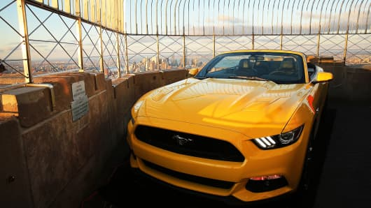 The new 2015 Mustang convertible is viewed on top of the observation deck at the Empire State Building on April 16, 2014 in New York City.