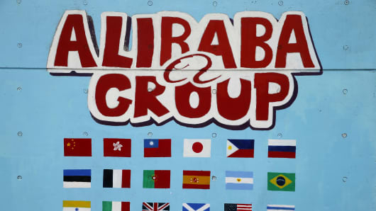 A hand-painted wall showing the Alibaba's international business at the Alibaba Group headquarters on March 29, 2014 in Hangzhou.
