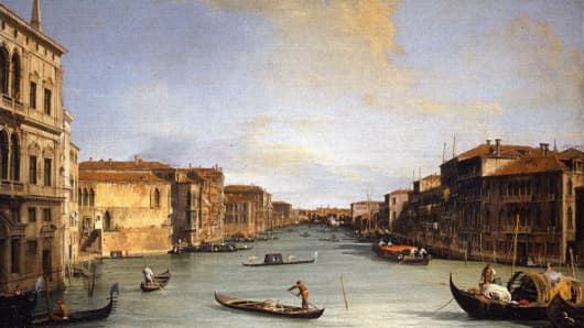 View of the Grand Canal by Giovanni Antonio Canal, known as Canaletto, in Florence's Uffizi gallery.