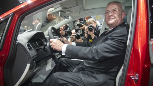 Chairman of the board of Voklswagen Martin Winterkorn presents the new VW Golf Sportsvan during the Group night at the international motor show IAA (Internationale Automobil-Ausstellung) on September 9, 2013 in Frankfurt am Main, Germany.