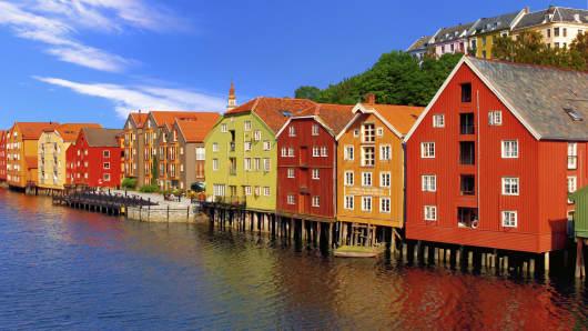 Nidelva river and Solsiden area in Trondheim, Norway