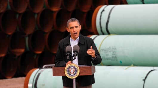 President Obama speaks at the southern site of the Keystone XL pipeline on March 22, 2012, in Cushing, Okla.