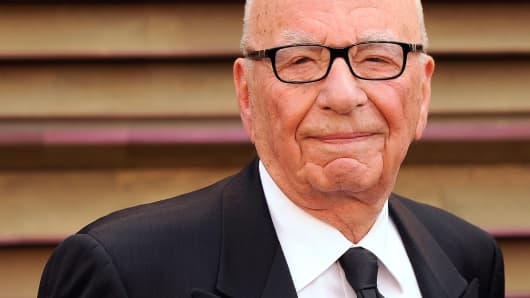 Rupert Murdoch arrives at the 2014 Vanity Fair Oscar Party, March 2, 2014, in West Hollywood, Calif.