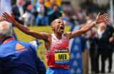 Meb Keflezighi, of the United States, reacts after winning the 118th Boston Marathon, April 21, 2014.