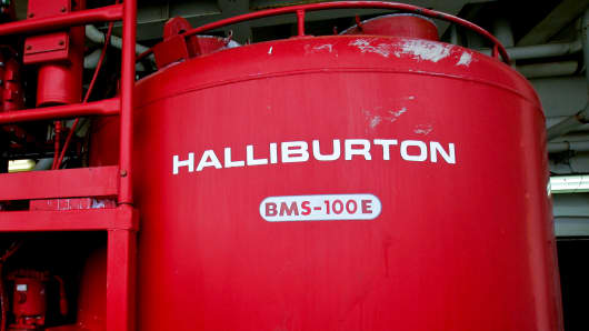 A Halliburton cement mixing tank
