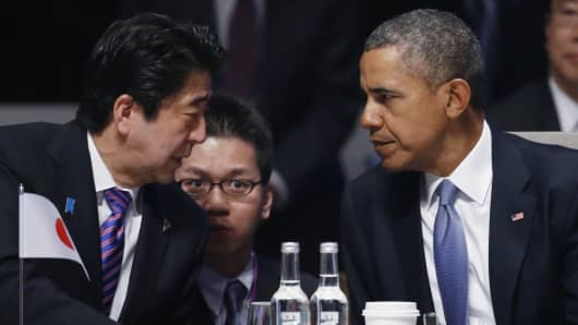 Japan's Prime Minister Shinzo Abe and U.S. President Barack Obama.