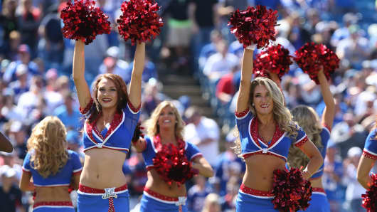 Buffalo Bills cheerleaders the Buffalo Jills perform before NFL game action against the New England Patriots at Ralph Wilson Stadium on September 8, 2013 in Orchard Park, New York.