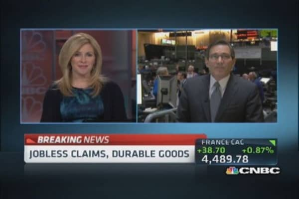 March durable goods up 2.6%;  jobless claims 329,000