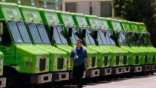 Amazon Fresh trucks at a warehouse in Inglewood, Calif.