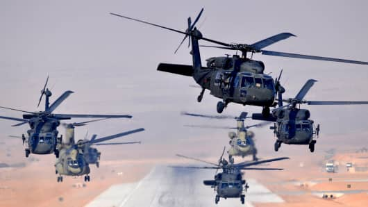 U.S. military Blackhawk and Chinook helicopters.