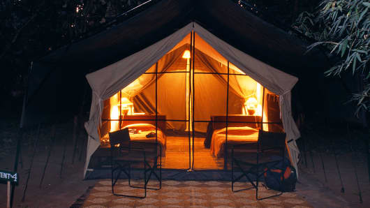 Glamping is luxury camping.