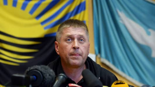 The separatist leader and self-proclaimed 'people's mayor' of the eastern Ukrainian city of Slavyansk, Vyacheslav Ponomaryov.