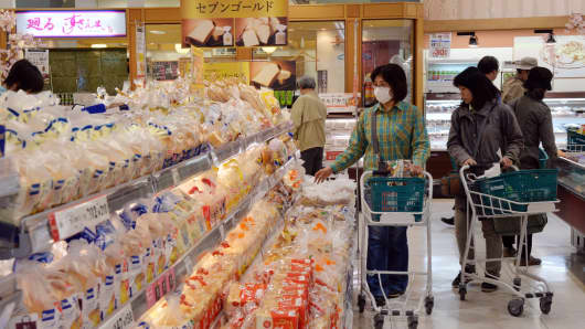 Customers shopping at the Ito Yokado supermarket in Tokyo.