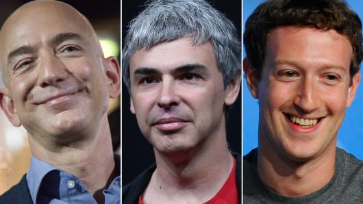 Jeff Bezos, Larry Page and Mark Zuckerberg.