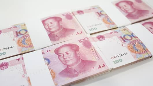 Chinese one-hundred yuan banknotes.