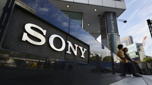 The Sony Corp. logo is displayed outside the company's showroom in Tokyo, Japan.