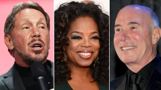 Larry Ellison, Oprah Winfrey, David Geffen