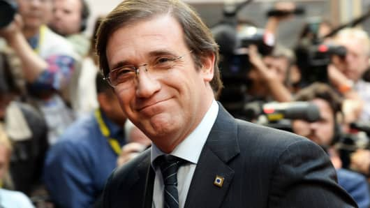 Portuguese Prime Minister Pedro Passos Coelho arrives at the EU headquarters in Brussels on March 20, 2014.
