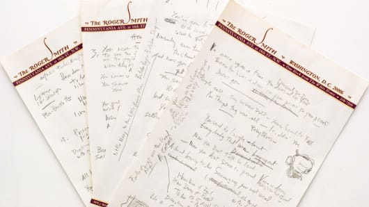 "This undated photo provided by Sotheby's shows a working draft of Bob Dylan's ""Like a Rolling Stone,"" one of the most popular songs of all time."