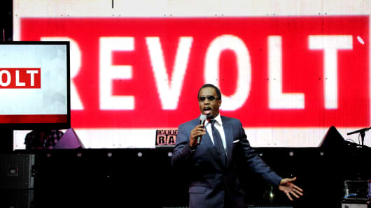 Sean 'Diddy' Combs speaks at the REVOLT TV First Annual Upfront presentation in April.