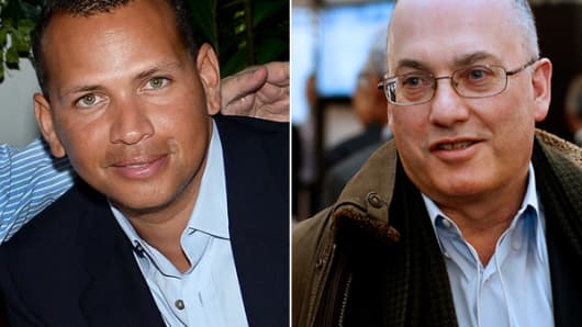 From left: Alex Rodriguez and Steven Cohen