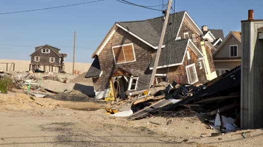 In the aftermath of Hurricane Sandy, a damaged home in Ortley Beach, New Jersey.