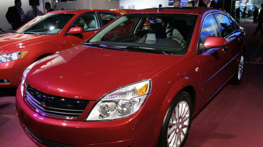 The 2007 Saturn Aura at the North American International Auto Show at Cobo Hall in Detroit.