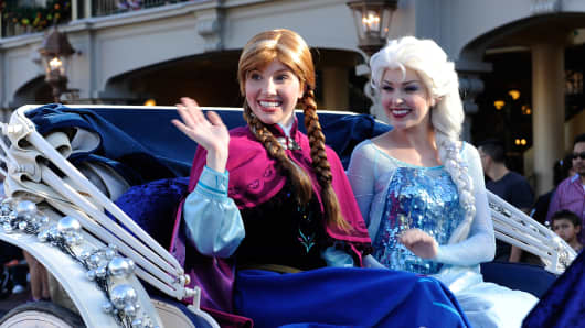 Walt Disney characters Anna and Elsa at the premiere of Frozen.